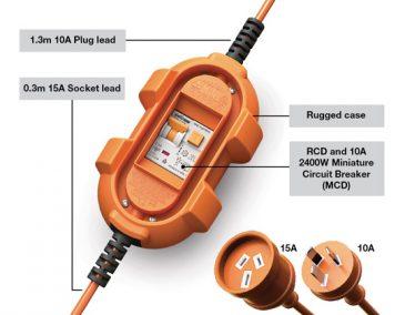 amp fibian rcd 15a adaptor features