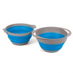 Companion PopUp colander and bowl set blue open - Caravan and camping
