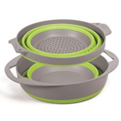 Companion PopUp colander and bowl set green collapsed flat compact - Caravan and camping