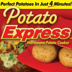 Potato express microwave potato cooker front advertising banner