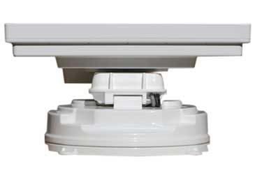 Satking promax automatic satellite for caravans buses motorhomes closed rear view. Vast and Foxtel.