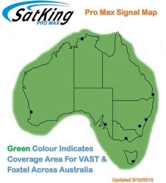 Satking promax automatic satellite for caravans buses motorhomes coverage map for Vast and Foxtel.